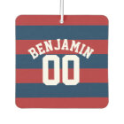 Navy Blue and Red Rugby Stripes Name Number Car Air Freshener