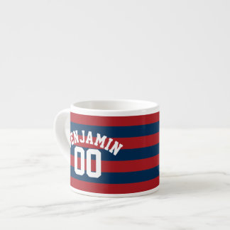 Navy Blue and Red Rugby Stripes Name Number Espresso Cup
