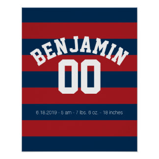 Navy Blue and Red Rugby Stripes Name Number Poster
