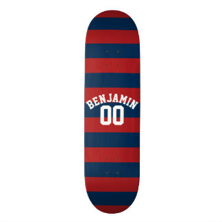 Navy Blue and Red Rugby Stripes Name Number Skate Board