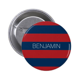 Navy Blue and Red Rugby Stripes with Custom Name 6 Cm Round Badge