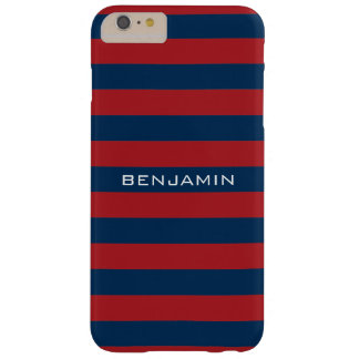 Navy Blue and Red Rugby Stripes with Custom Name Barely There iPhone 6 Plus Case