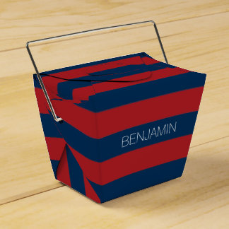 Navy Blue and Red Rugby Stripes with Custom Name Favour Box