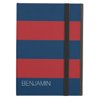 Navy Blue and Red Rugby Stripes with Custom Name iPad Air Covers