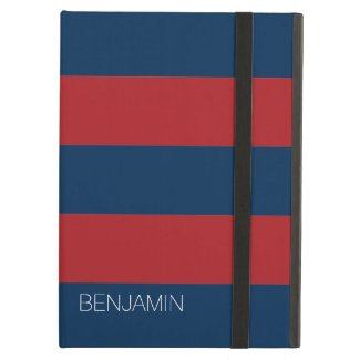 Navy Blue and Red Rugby Stripes with Custom Name