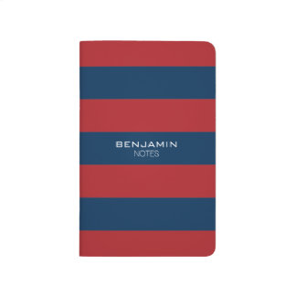 Navy Blue and Red Rugby Stripes with Custom Name Journal