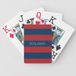 Navy Blue and Red Rugby Stripes with Custom Name Bicycle Poker Cards