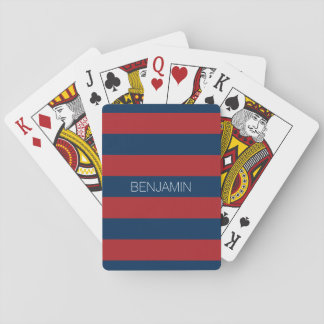 Navy Blue and Red Rugby Stripes with Custom Name Playing Cards