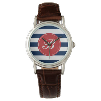 Navy Blue and Red Stripes Pattern Monogram Watch