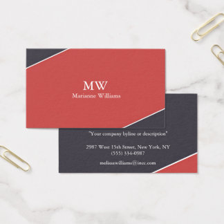 Navy Blue and Red Women's Professional Business Business Card
