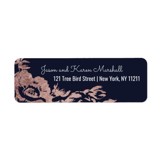 Navy Blue and Rose Gold Floral Address