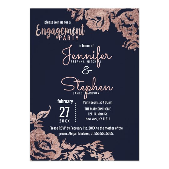 Navy Blue and Rose Gold Floral Engagement Party