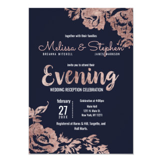 Navy Blue and Rose Gold Floral Evening Card
