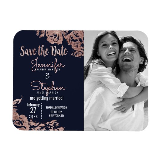 Navy Blue and Rose Gold Floral Save the