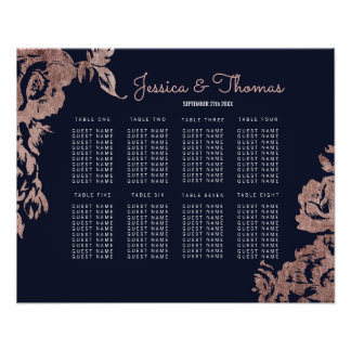 Navy Blue and Rose Gold Floral Seating Chart