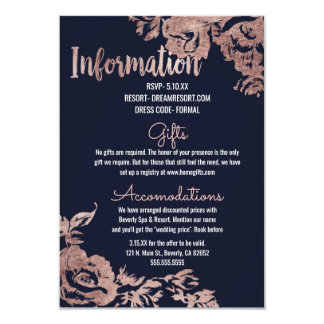 Navy Blue and Rose Gold Floral Wedding Information Card