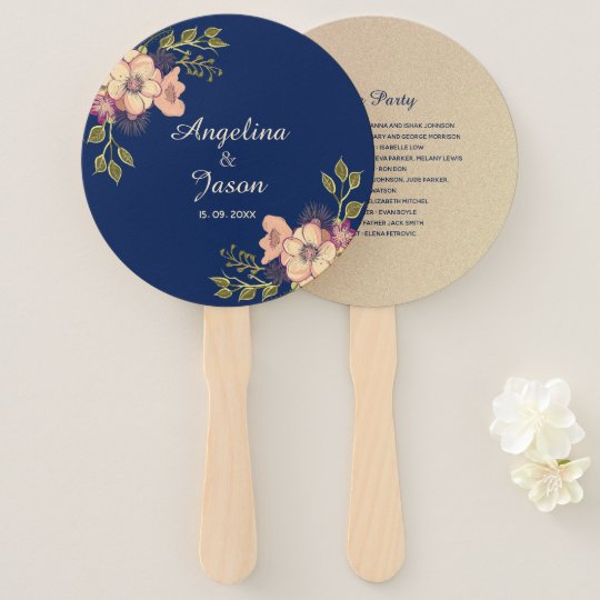 Navy Blue And Rose Gold Flowers Rustic Wedding Hand Fan Zazzlecouk