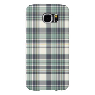 Navy Blue and Seafoam Coastal Plaid Samsung Galaxy S6 Cases