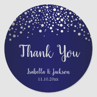 Navy Blue and Silver Confetti Dots Classic Round Sticker