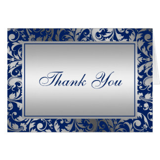 Navy Blue and Silver Damask Swirls Thank You Card