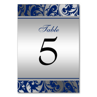 Navy Blue and Silver Damask Swirls Wedding Table Card