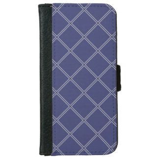 Navy Blue and Silver Geometric Diamond Outline iPhone 6 Wallet Case
