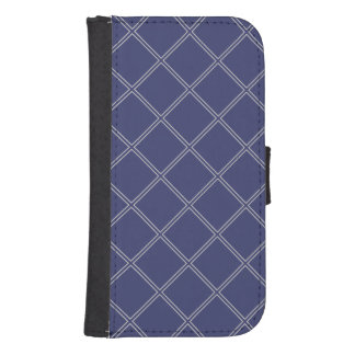 Navy Blue and Silver Geometric Diamond Outline Samsung S4 Wallet Case