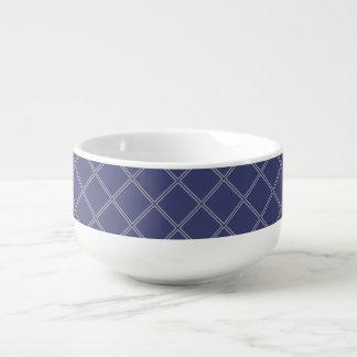 Navy Blue and Silver Geometric Diamond Pattern Soup Mug