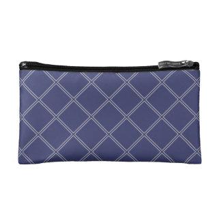 Navy Blue and Silver Geometric Diamonds Makeup Bag