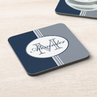 Navy Blue and Silver Gray Stripes Monogram Coaster