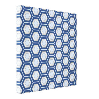 Navy Blue and Silver Hex Tiled Canvas Stretched Canvas Print