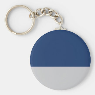 Navy Blue and Silver Basic Round Button Key Ring