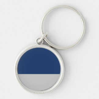 Navy Blue and Silver Silver-Colored Round Key Ring