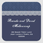 Navy Blue and Silver Wedding Damask Lace Address 9 Square Stickers