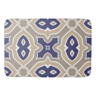 Navy Blue and Taupe Moroccan Bath Mats
