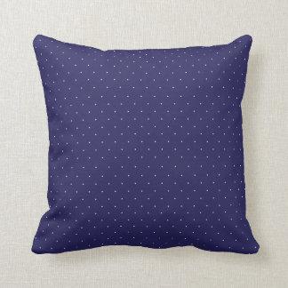 Navy Blue and Tiny White Polka Dots Cushion