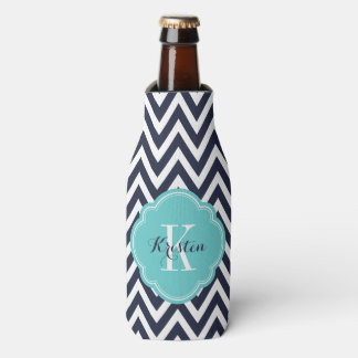 Navy Blue and Turquoise Chevron Monogram