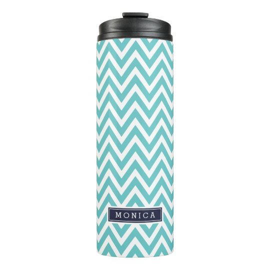 Navy Blue and Turquoise Chevron Monogram Thermal Tumbler