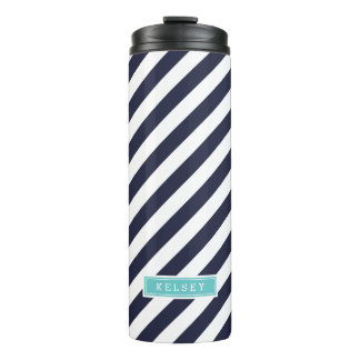 Navy Blue and Turquoise Preppy Stripes Monogram Thermal Tumbler