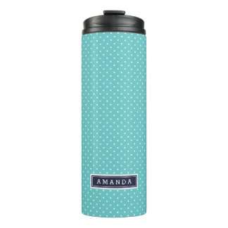 Navy Blue and Turquoise Tiny Dots Monogram Thermal Tumbler