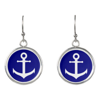Navy Blue and White Anchor Earrings