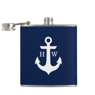 Navy Blue and White Anchor Monogram Hip Flasks