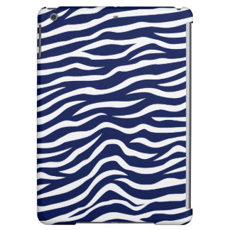 Navy Blue and White Animal Print Zebra Stripes