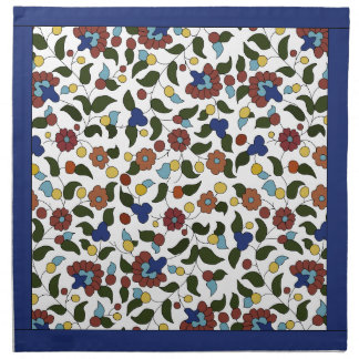 Navy blue and White Armenian floral pattern Napkin