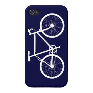 Navy Blue and White Bicycle iPhone 4/4S Covers