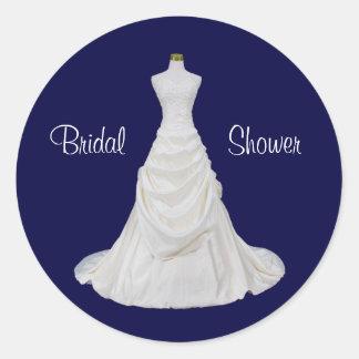Navy Blue and White Bridal Shower Envelope Seal Round Sticker