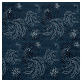 Navy blue and white butterfly,peacocks pattern fabric
