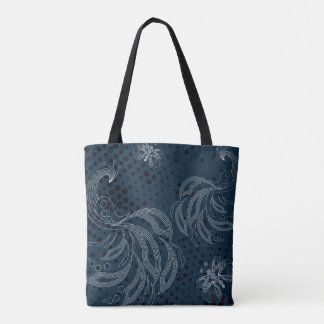 Navy blue and white butterfly,peacocks pattern tote bag