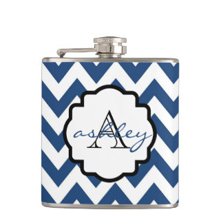 Navy Blue and White Chevron Monogram Flask