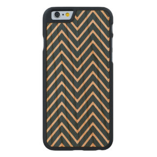 Navy Blue and White Chevron Pattern 2 Carved® Cherry iPhone 6 Case